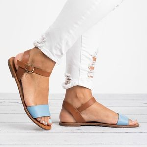 Breckelles Shoes - Colorful Single Strap Sandals - Blue